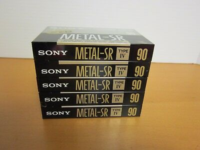 Lot of 5 - Sony Blank cassettes - Metal SR Type IV 90 (New / Old Stock)