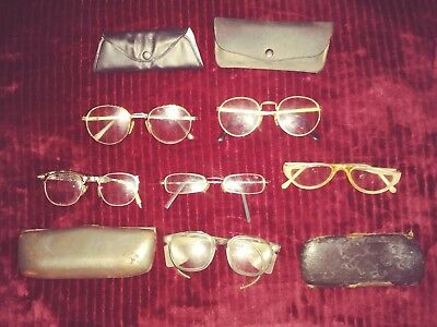 6 Vintage ANtique pairs of Eye Glasses and Cases Mixed Lot 50's 60's 70's