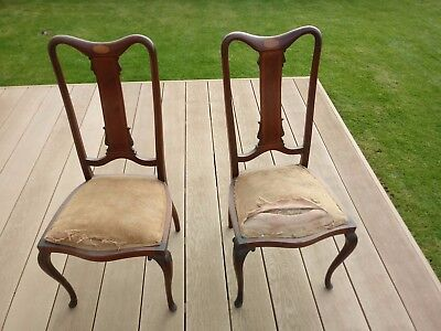 Pair of Antique Victorian desk chairs - In need of restoration