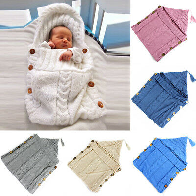 Wrap Wool Knit Blanket Swaddle Baby Sleeping Bag Sleep Sack Stroller 0-12 Months
