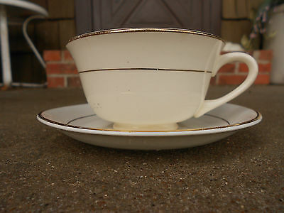 """DERWOOD W E George 9"""" White CUP and SAUCER w 22K Gold Trim"""