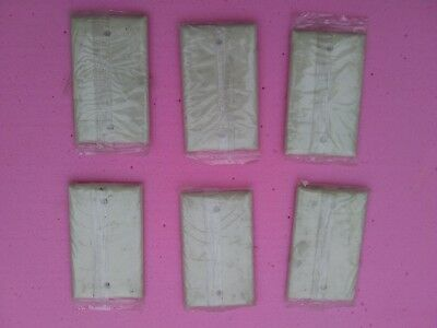 6 Vintage Sierra Electric Blank Wall Plate Cover (Ivory Color - 2 Line Design)