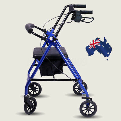 Foldable Rollator Walking Frame Outdoor Mobility Walker Aids Stainless Steel New