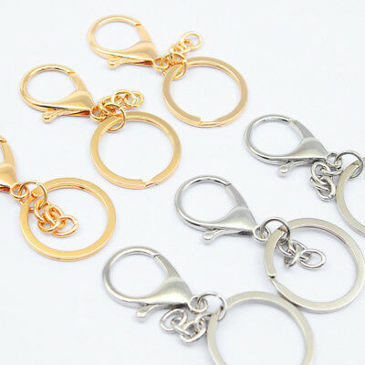 10pcs Metal Key Ring Lobster Clasps Swivel Trigger Clips Snap Hooks Bag Keychain