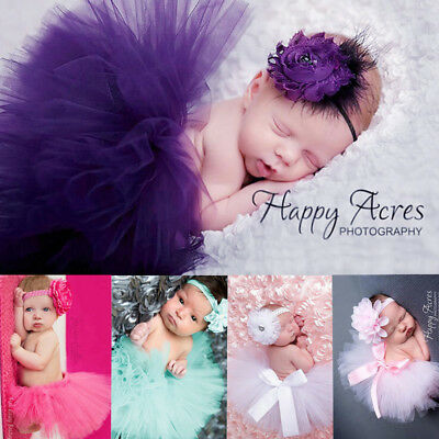 NEW Baby Girls Tutu Skirt Headband Costume Photo Photography Props Outfits AU