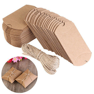 200X Wedding Favor Box Cute Craft Paper Pillow Party Favour Gift Cake Candy Bag