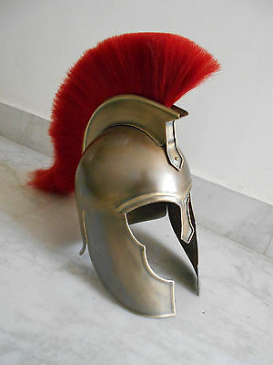 Spartan Greek Steel Troy Helmet with Plum Costume Armor SCA COSTUME ADULT SIZE""