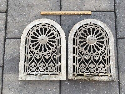 Two Ornate Arched Top Cast Iron Furnace Grate Registers Architectural Salvage