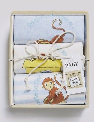 Ex store Marks & Spencer Newborn Baby Boys  Dear Zoo long sleeve bodysuits BNIB