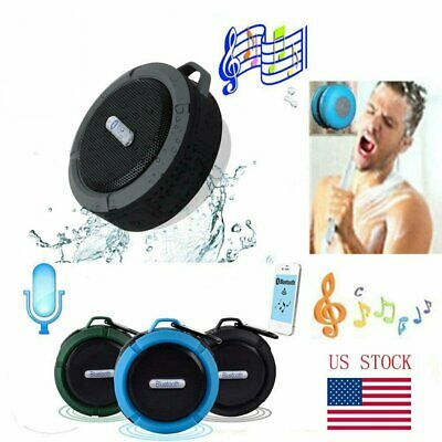Handsfree Wireless Bluetooth Speaker Suction Car Shower Waterproof Music Mic USA