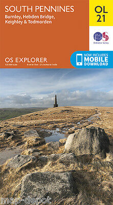 SOUTH PENNINES EXPLORER Map - OL 21 - OS - Burnley - *NEW* - inc.MOBILE DOWNLOAD