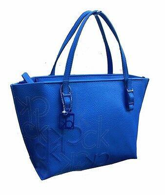 d870eb8d8b NWT Calvin Klein HAILEY TOTE Small Deep Blue Embossed Logo Retails for $119
