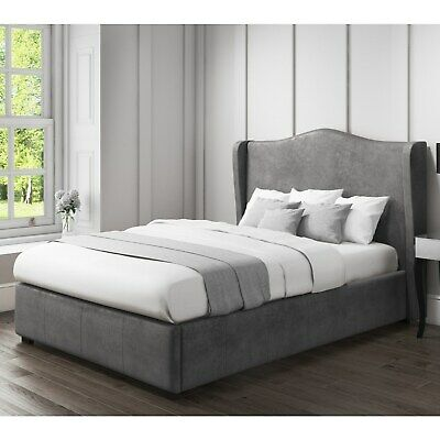 Amazing Stylish Safina Wing Back King Size Ottoman Bed In Grey Gmtry Best Dining Table And Chair Ideas Images Gmtryco