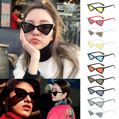 Women Ladies Vintage Cat Eye Triangle Sunglasses Shades Retro Eyeglasses Eyewear