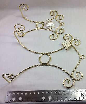 Wall Plate Display Hanger Bright Brass Plated Spiral Wire. Select One Size.