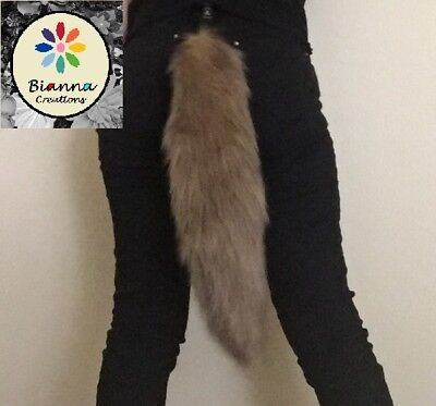 Bianna Golden Brown Faux Fur Wolf Tail, Animal Pet Play Cosplay Dress Up Costume