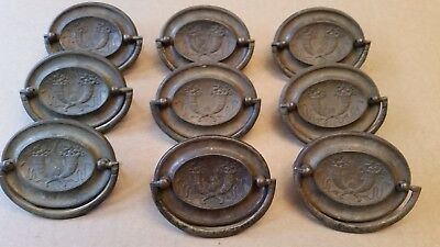 "9 Hepplewhite Oval Cornucopia Matching Set Antique Brass 2-1/2"" Drawer Pulls"