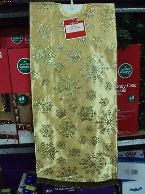 """Holiday Time 48"""" Christmas Tree Skirt w/Gold Glitter Snowflake Decor Bright NEW"""