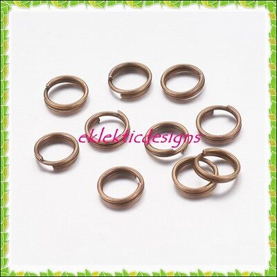 6mm 100pcs Antique Brass Bronze Split Dbl Jump Rings Jewelry Findings Earrings