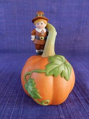 Avon Porcelain Thanksgiving Pumpkin Bell with Pilgrim Child