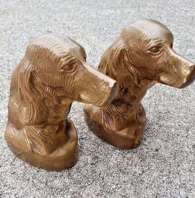 Vintage Golden Retriever Irish Setter Solid Brass Dog Collectible Bookends Nice