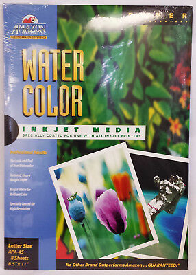 AMAZON 8.5 X 11 WATER COLOR INKJET PAPER 5- Packs of 8  total 40 sheets Reduced$