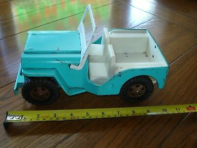 Vintage Pressed Steel Tonka Jeep  Aqua  Blue & White Rubber Tires Collectable