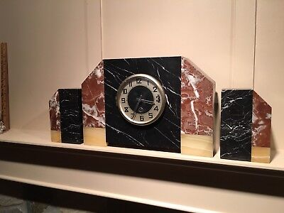 Stunning 3 Piece 1930's Art Deco French Clock w/ Garnitures Marble and Onyx