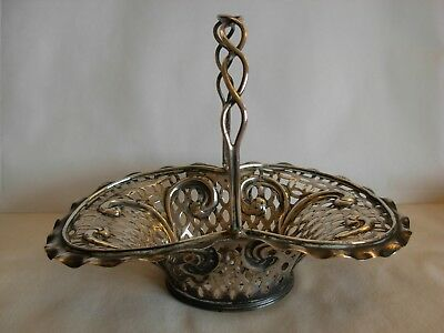 CHESTER 1896- ENGLISH VICTORIAN STERLING SILVER OPEN WORK  BASKET - 134 grams