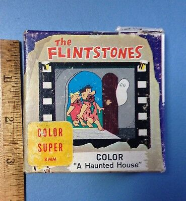"""1963 The Flintstones """"A Haunted House"""" Color Super 8mm Screen Gems Home Movie"""