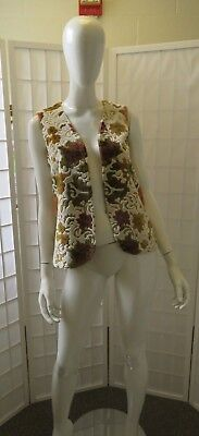 Vintage Handmade Brocade Satin Lined Multi Colored Floral Vest.