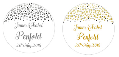 Wedding Confetti personalised 24  x 40mm round stickers favour box / bags /cones