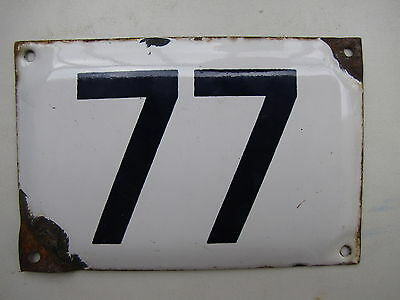 vintage ISRAELI enamel porcelain number 77 house sign # 77