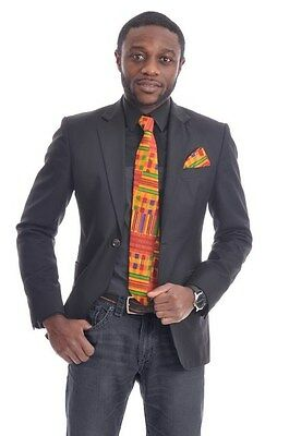 Kente African Print Necktie with Pocket scarf One Size Multicolor DPT3227N