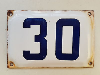 vintage ISRAELI enamel porcelain number 30 house sign # 30