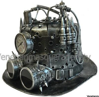 NEWEST Steampunk Top Hat Time Travel antenna tube Goggles Clock Gear Accessory