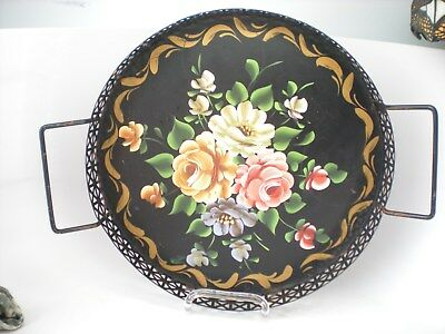 "Vintage 12"" Round Tole Ware Floral Serving Tray Hand Painted Folk Americana"