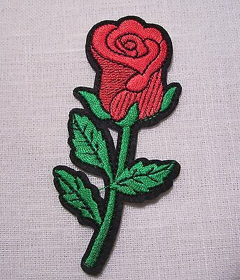 C5565 - TIGE FLEUR ROSE ROUGE * 5 x 10 cm * APPLIQUE ÉCUSSON PATCH THERMOCOLLANT