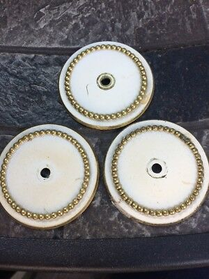 """Vintage Lot 3 French Provincial  White Gold Accent 2"""" Heirloom Backplates"""