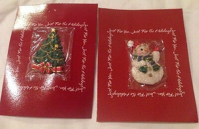 American Greetings Christmas Tree & Smowman Brooch Pin New On Card
