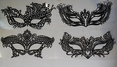 A black face mask tattoo sticker Festival temporary eyes face mask lace tattoos