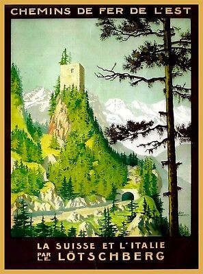 Lötschberg Switzerland Suisse Vintage Travel Advertisement Art Poster Print