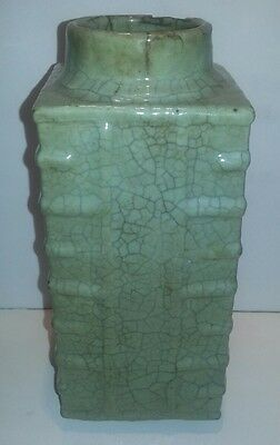 Early Rare Longquan ? Chinese Dynasty Porcelain Cong Vase Celadon crackle glaze