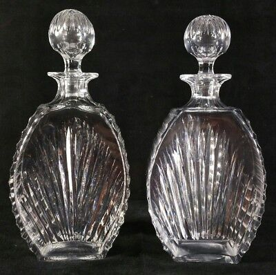 """Pair of Vintage English Royal Brierley Cut & Polished Crystal Decanters 10"""" FINE"""