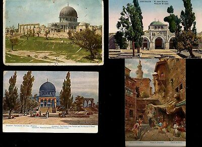 Holy Land Palestine 1920 Vintage Lot 4 Rare Postcards Alaksa Mosque Diff Angles