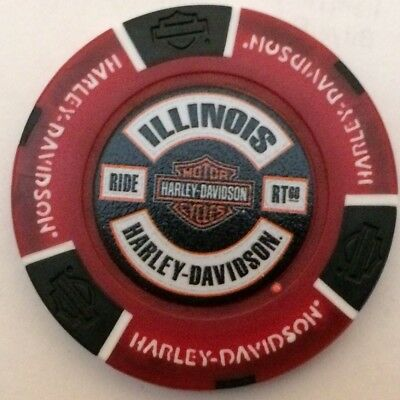 COUNTRYSIDE, IL ILLINOIS Harley Davidson Poker Chip Red/Black