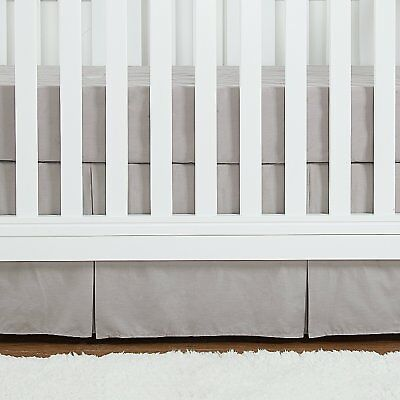 Pleated Crib Bed Skirt Gray, 100% Natural Cotton, Nursery Crib Bedding for Baby