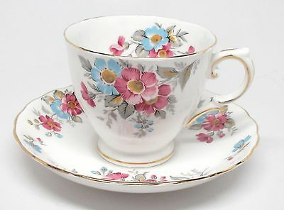 Tuscan Fine English Bone China - Blue & Pink Flowers Cup & Saucer Set - England