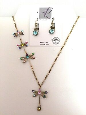 Anne Koplik Swarovski Crystal Whimsical Dragonfly Necklace with Free Earrings!
