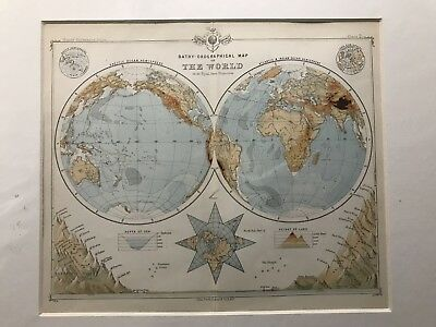 1890 Bathy Orographical Map of The World